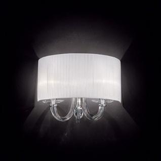 Ideal Lux 35864 Swan Glas-Wandleuchte mit Plissee Schirm Wandlampe Chrom Klar