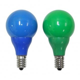 LED Birne für Biergartenketten 2er-Blister 3 blaue 3 grüne Dioden 24V 0.24W E14 Schraubgewinde