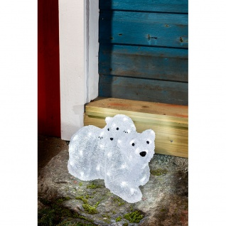 Konstsmide 6191-203 LED Acryl Eisbären Mutter mit Kind 96 kaltweisse Dioden 24V Außentrafo