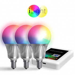 Starter-Set 3x E14 iLight LED + WiFi-Box RGBW LED Leuchtmittel Lampe App