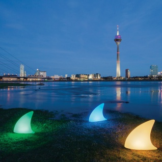 Moree LED Akku Dekoleuchte Shark mit Farbwechsel IP44 Gartenleuchte Gartenlampe