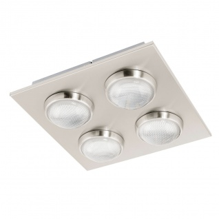 Eglo 94298 Lombes LED Deckenleuchte 4 x 45 W Stahl Alu Nickel-Matt Kunststoff klar