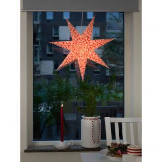 Konstsmide 2911-520 Roter Papierstern, perforiert und mit weiß bedruckten Schneeflocken, 7 Zacken, inkl. Anschlusskabel mit an/aus Schalter, ohne Leuchtmittel, E14 Lampenhalterung für Innenbereich