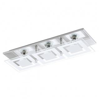 Eglo 94225 Almana LED Wand & Deckenleuchte 3 x 3 W Stahl Chrom Glas satiniert Weiss klar