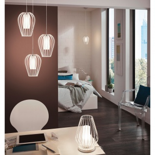 Eglo 94338 Vencino LED Hängeleuchte 1 x 6 W Stahl Weiß Chrom Glas satiniert Weiß lackiert