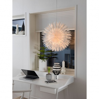 Konstsmide 2938-200 Weißer Papierstern, inkl. Anschlusskabel mit an/aus Schalter, ohne Leuchtmittel, E14 Lampenhalterung für Innenbereich
