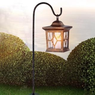 Kupferfarbene LED Solar-Laterne 68cm mit Erdspieß Solar Gartenlampe Gartenleuchte