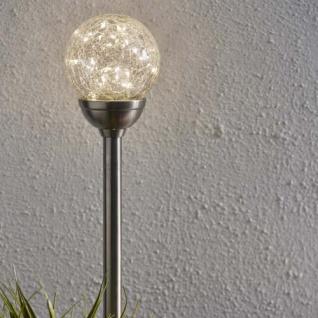 Premium LED Solarspieß aus echten Glas 45cm Solar Gartenlampe Gartenleuchte