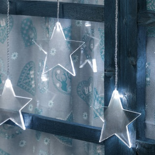 LED Acrylvorhang Sterne 84cm Kaltweiß IP44 Weihnachtsbeleuchtung