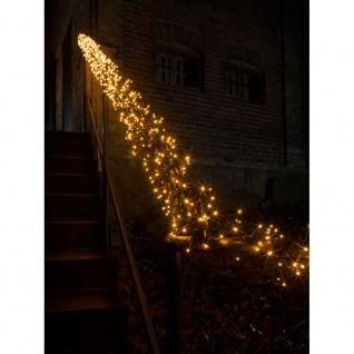 Micro LED Büschellichterkette Cluster mit 8 Funktionen 576 bernsteinfarbene Dioden 24V Außentrafo