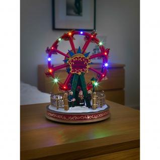 LED Szenerie Riesenrad mit Animation Weihnachtsliedern 12 bunte Dioden batteriebetrieben für Innen