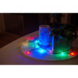 Konstsmide 6350-520 Micro LED Lichterkette verschweißt 10 bunte Dioden 24V Innentrafo dunkelgrünes Kabel