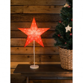 Konstsmide 2991-520 Roter Papierstern perforiert und mit weiß bedrucktem Muster 5 Zacken mit weißem Metall-Fuß inkl. Anschlusskabel mit an/aus Schalter ohne Leuchtmittel E14 Lampenhalterung für Innenbereich