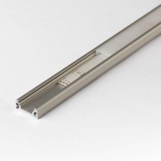 2m Aufbau-Aluprofil-Set für LED-Strips Abdeckung klar Alu natureloxiert