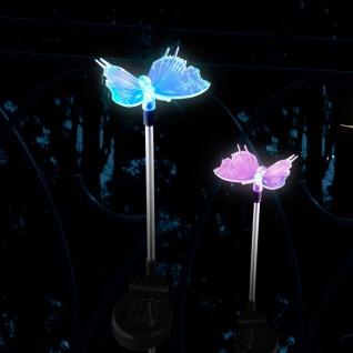 LED Solarleuchte Schmetterling 76cm Spieß RGB Farbwechsel Solar Gartenlampe Gartenleuchte