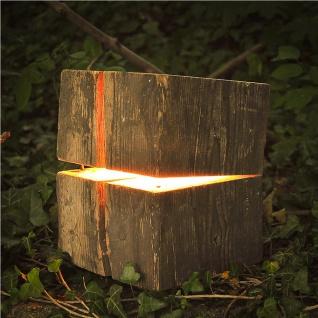 Almleuchten B1 massive Blockleuchte aus Altholz Braun Tischlampe aus Holz - Vorschau 3