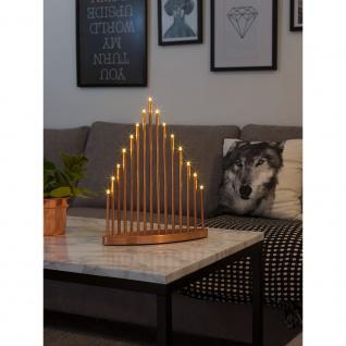 LED Metallleuchter kupferfarben lackiert groß 15 Warmweiße Dioden 3V Innentrafo