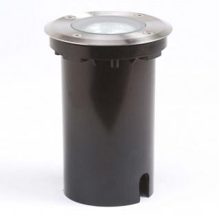 Konstsmide 7606-000 Energiespar Bodeneinbaustrahler rund Edelstahl klares Glas