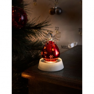 LED Glasfigur Engel rot klein mit 3 Funktionen Timer 1 Warmweiße Diode batteriebetrieben für Innen
