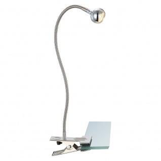 LED Klemmstrahler mit Flexarm 150lm Alu-Matt Klemmleuchte Klemmlampe