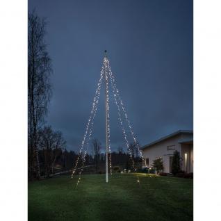 Konstsmide 4780-117 LED Lichtermantel mit Ring für Fahnenmast 5 Stränge vormontiert 500 warmweisse Dioden 24V Außentrafo schwarzes Soft-Kabel