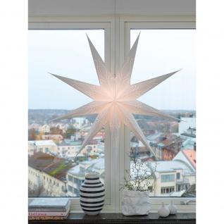Konstsmide 2974-200 Weißer Papierstern perforiert inkl. 9 Zacken Anschlusskabel mit an/aus Schalter ohne Leuchtmittel E14 Lampenhalterung für Innenbereich