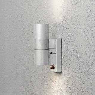 Konstsmide 7542-320 Modena Aussen-Wandleuchte mit Bewegungsmelder galvanisierter Stahl klares Glas Reflektor
