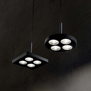 Ideal Lux LED Hängelampe Garage 4-flg. Rund Schwarz 205854