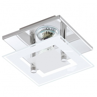 Eglo 94224 Almana LED Wand & Deckenleuchte 1 x 3 W Stahl Chrom Glas satiniert Weiss klar