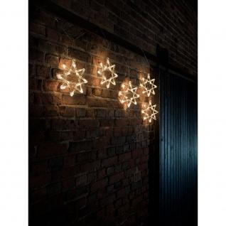 LED Lichtervorhang 5 Acrylsterne 60 Warmweiße Dioden 24V Außentrafo