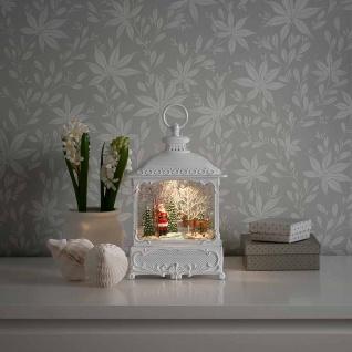 LED Dekoleuchte Weihnachtsmann mit Elch mit Wasser gefüllt und batteriebetrieben