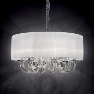 Ideal Lux 35826 Swan Glas-Lüster mit Plissee Schirm Ø 69 Hängelampe Chrom Klar