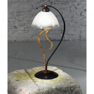 Kögl 23011 Amabile Tischleuchte 46cm rost-antik mit Gold Glas Weiß