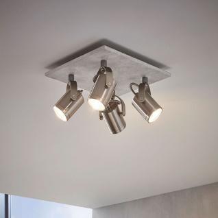 Licht-Trend Ledge LED-Strahler 4-flg. Betonoptik & Nickel-Matt Betonlampe