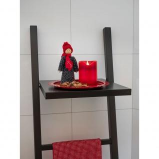 LED Echtwachskerze rot zerlaufene Wachsoptik Lichtsensor 2 warm weiß flackernde Dioden batteriebetrieben für Innen