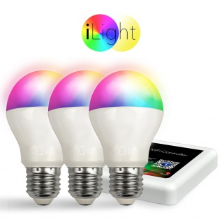 Starter-Set 3x E27 iLight LED + WiFi-Box RGBW LED Leuchtmittel Lampe App