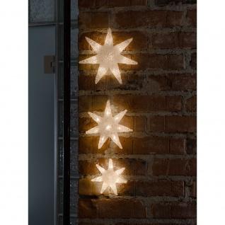 LED Lichtervorhang 3 Acryl Sterne 24 Warmweiße Dioden 24V Innentrafo