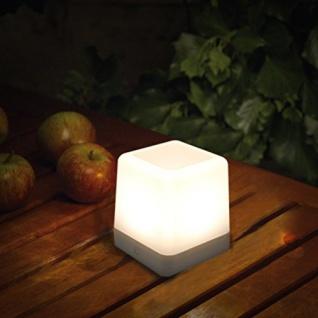 Dimmbare Solar-Tischleuchte Table-Cube IP44 Weiß Solar Gartenlampe Gartenleuchte
