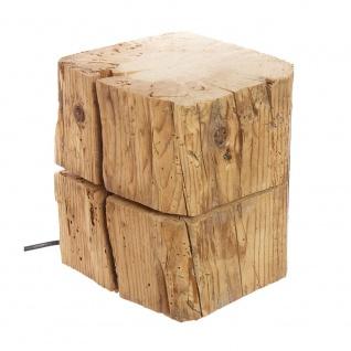 Almleuchten B1 massive Blockleuchte aus Altholz Braun Tischlampe aus Holz - Vorschau 4