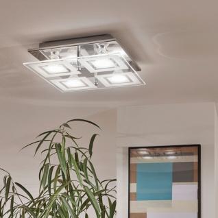 Eglo 94226 Almana LED Wand & Deckenleuchte 4 x 3 W Stahl Chrom Glas satiniert Weiß klar