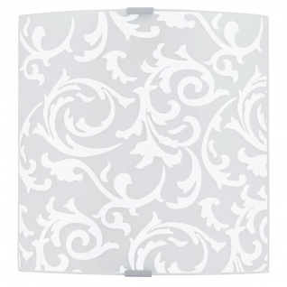 Eglo 94601 Grafik LED Wand & Deckenleuchte 82 W Stahl Weiss Chrom Glas bedruckt Weiss