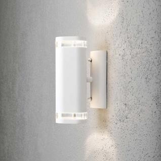Konstsmide 7512-250 Modena Aussen-Wandleuchte mit doppeltem Lichtkegel Weiß klares Acrylglas Reflektor