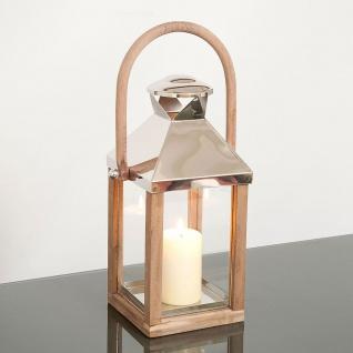 Holländer 240 3515 Laterne Klein Aluminium-Holz-Glas Natur-Silber