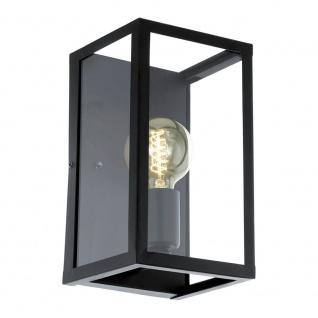 Eglo 49394 Charterhouse Vintage Wandleuchte Stahl Schwarz Glas klar