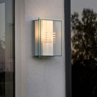Konstsmide 409-310 Sol Energiespar Aussen-Wandleuchte Silber klares Polycarbonat Glas