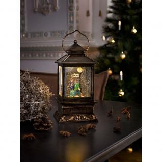 LED Schneelaterne mit Pärchen klein mit 5h Timer wassergefüllt 1 Warmweiße Diode batteriebetrieben für Innen