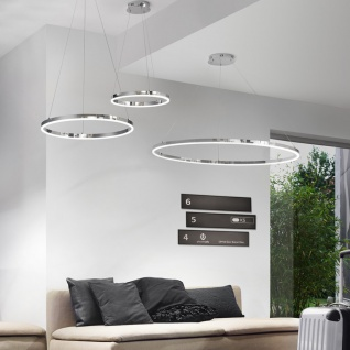 s.LUCE pro LED-Hängelampe Ring M Dimmbar Ø 60cm in Chrom Wohnzimmer Ring