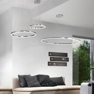 s.LUCE Ring M LED-Hängeleuchte Ø 60cm Chrom Wohnzimmer Hängelampe Ringleuchte
