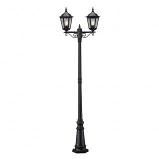 Konstsmide 7234-750 Firenze Standleuchte mit 2 Leuchtenköpfen Schwarz klares Glas