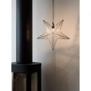 Konstsmide 3555-300 Silberfarbener Metallstern inkl. Anschlusskabel mit an/aus Schalter ohne Leuchtmittel E14 Lampenhalterung für Innenbereich